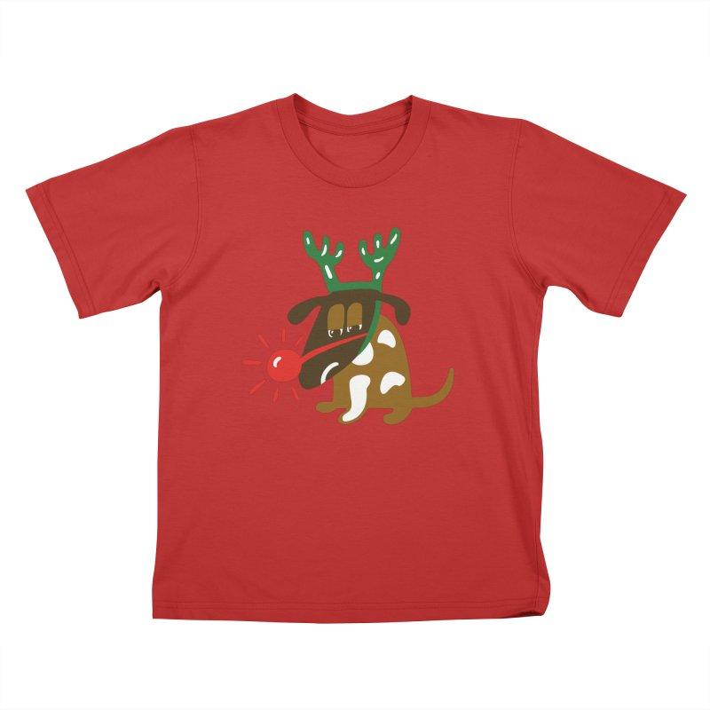 Xmas Dog Kids T-Shirt by Dicker Dandy