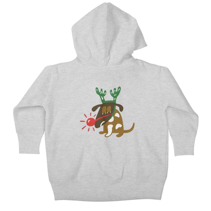 Xmas Dog Kids Baby Zip-Up Hoody by Dicker Dandy