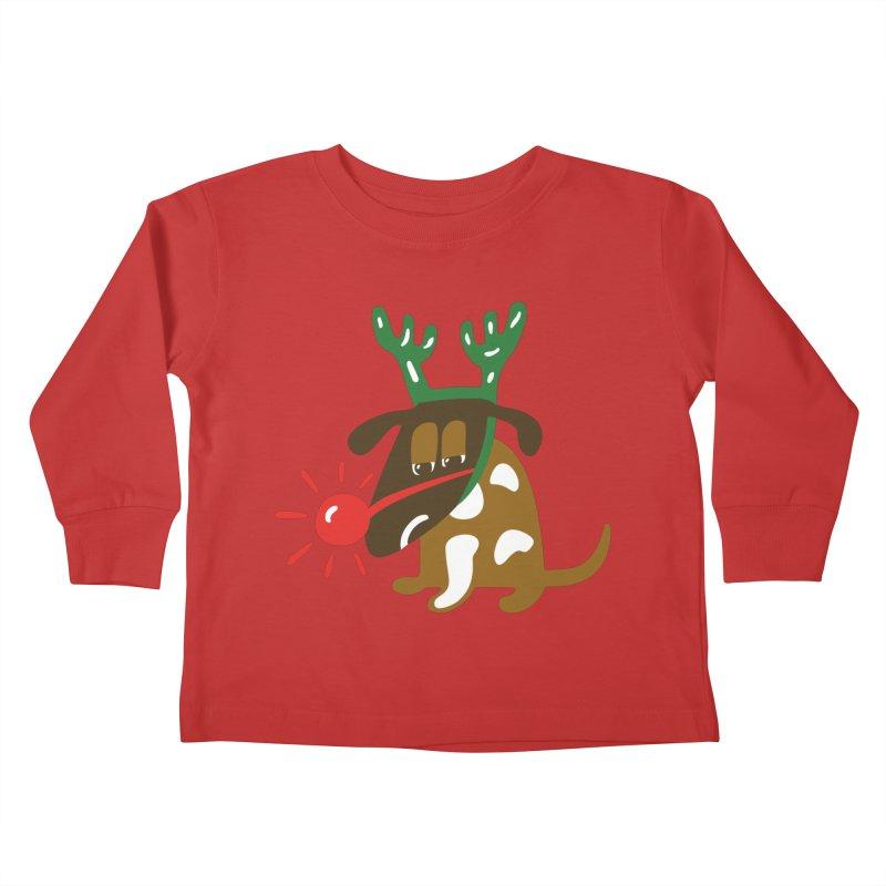 Xmas Dog Kids Toddler Longsleeve T-Shirt by Dicker Dandy