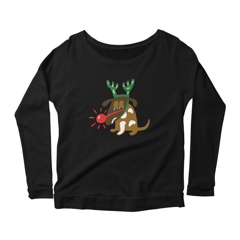 Xmas Dog Women's Scoop Neck Longsleeve T-Shirt by Dicker Dandy