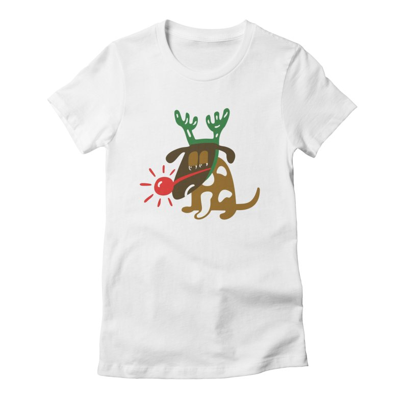 Xmas Dog Women's Fitted T-Shirt by Dicker Dandy