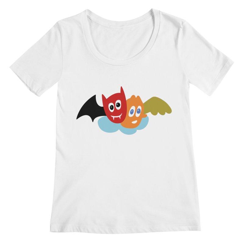 Devil & Angel Women's Regular Scoop Neck by Dicker Dandy