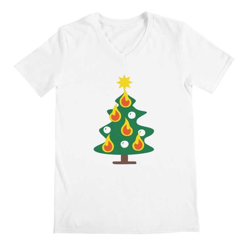 Burning Christmas Tree Men's V-Neck by Dicker Dandy