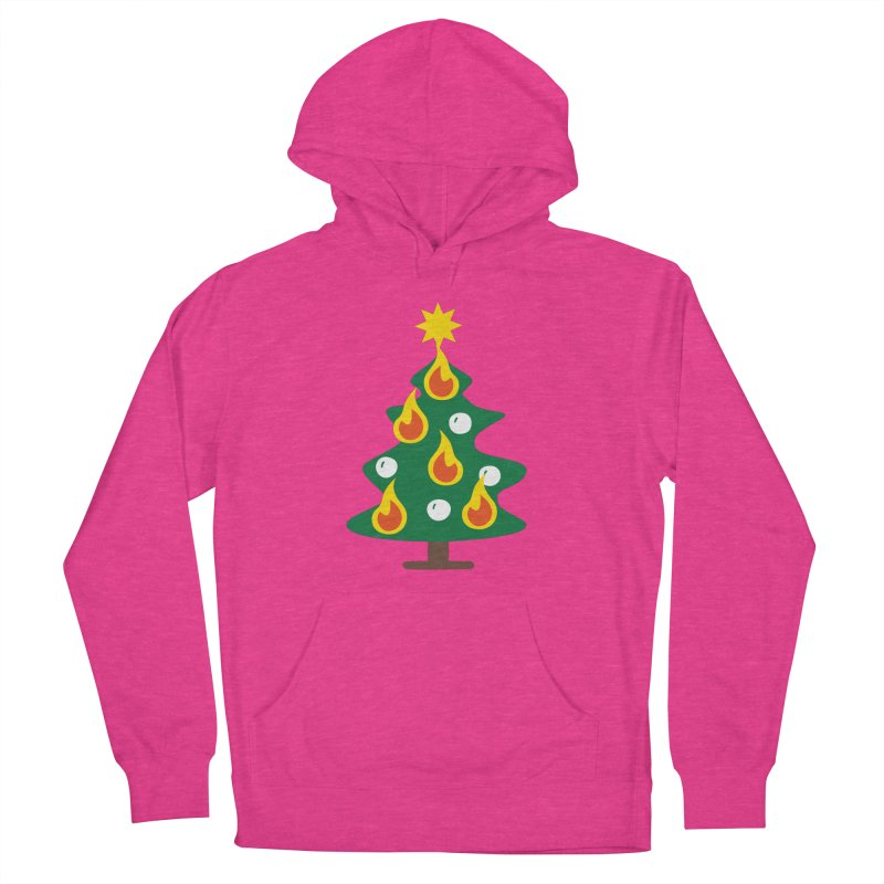 Burning Christmas Tree Women's French Terry Pullover Hoody by Dicker Dandy