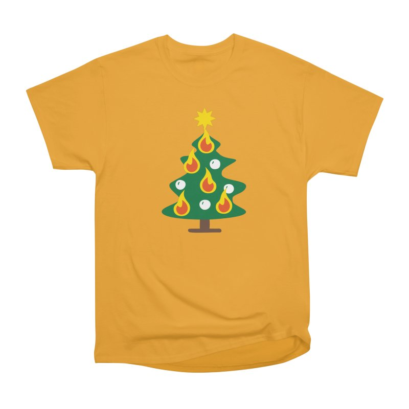 Burning Christmas Tree Women's Heavyweight Unisex T-Shirt by Dicker Dandy