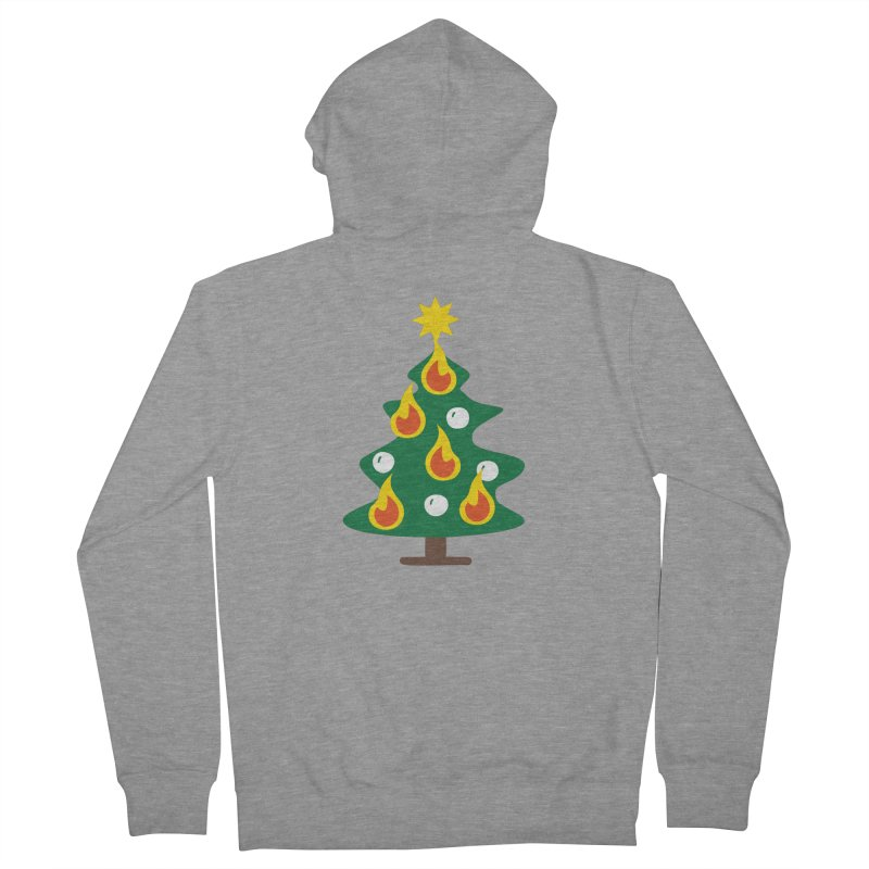 Burning Christmas Tree Women's French Terry Zip-Up Hoody by Dicker Dandy