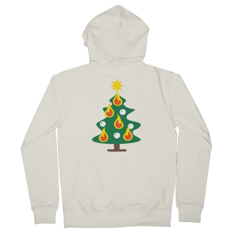 Burning Christmas Tree Men's French Terry Zip-Up Hoody by Dicker Dandy