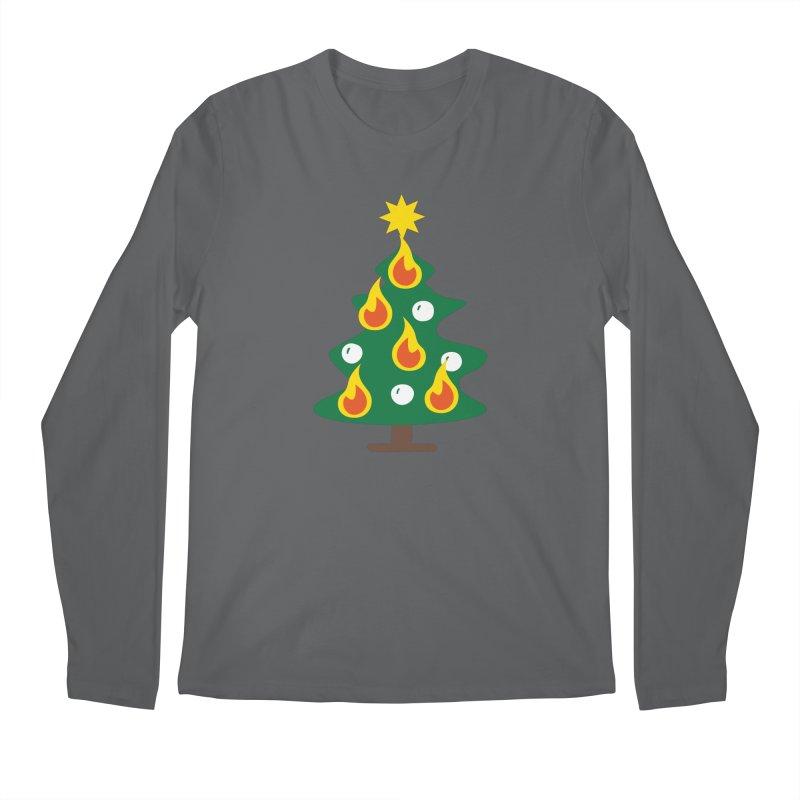 Burning Christmas Tree Men's Regular Longsleeve T-Shirt by Dicker Dandy