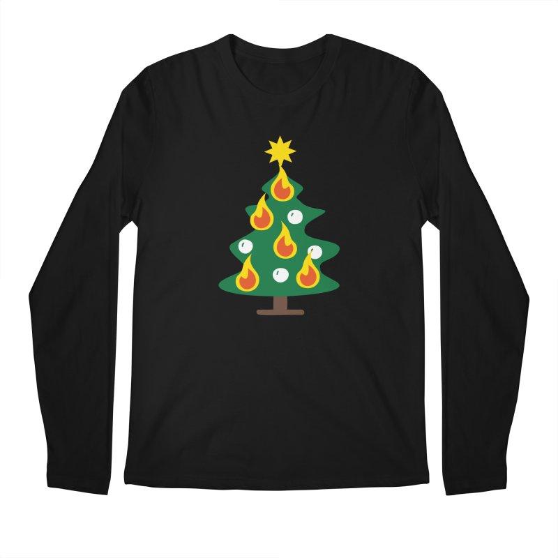 Burning Christmas Tree Men's Longsleeve T-Shirt by Dicker Dandy