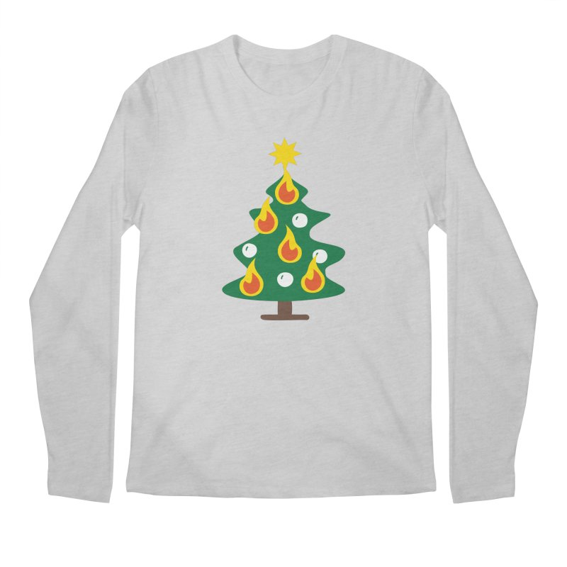 Burning Christmas Tree Men's Regular Longsleeve T-Shirt by Dicker Dandy