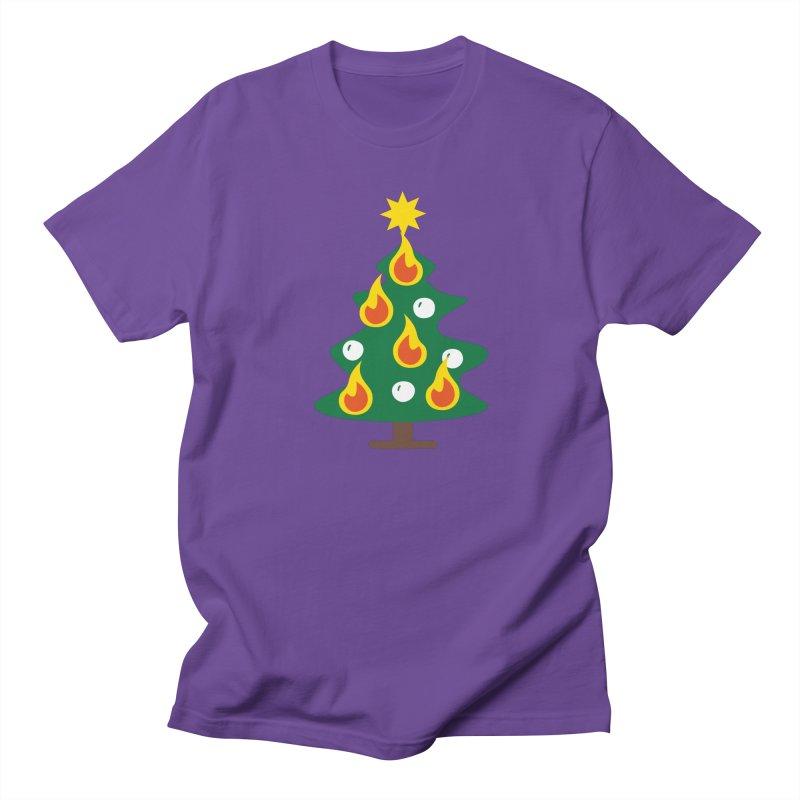 Burning Christmas Tree Women's Regular Unisex T-Shirt by Dicker Dandy