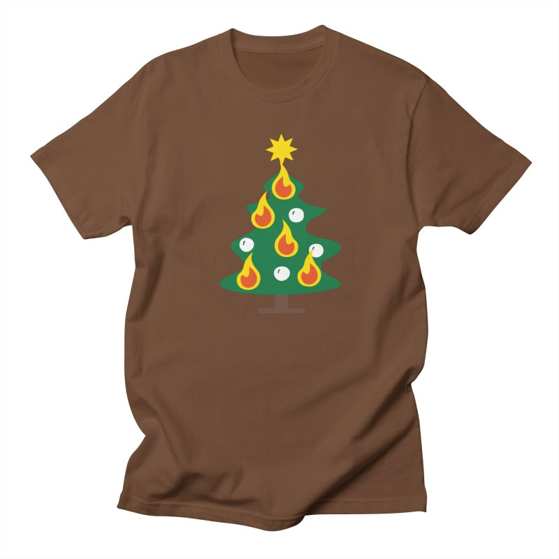Burning Christmas Tree Men's T-Shirt by Dicker Dandy