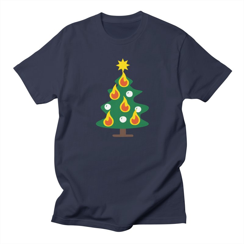 Burning Christmas Tree Men's Regular T-Shirt by Dicker Dandy