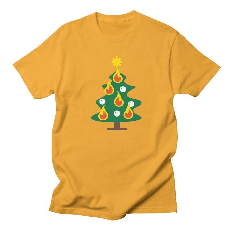Burning Christmas Tree Women's Unisex T-Shirt by Dicker Dandy