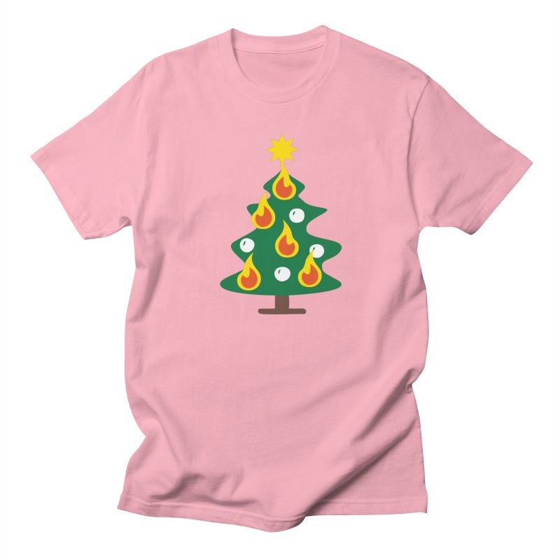 Burning Christmas Tree Men's Regular T-Shirt by Dicker Dandy