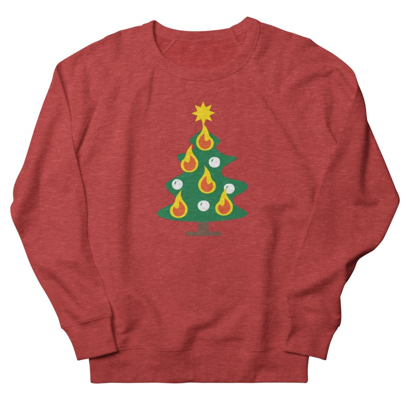 Burning Christmas Tree Women's French Terry Sweatshirt by Dicker Dandy