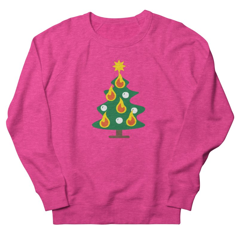 Burning Christmas Tree Women's French Terry Sweatshirt by Dicker Dandy