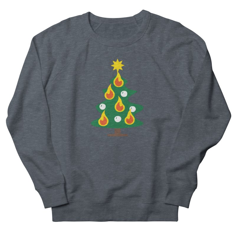 Burning Christmas Tree Men's French Terry Sweatshirt by Dicker Dandy