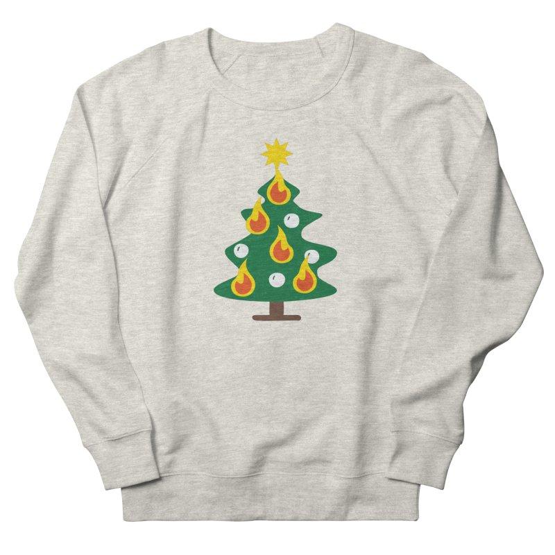 Burning Christmas Tree Men's French Terry Sweatshirt by Dicker Dandy
