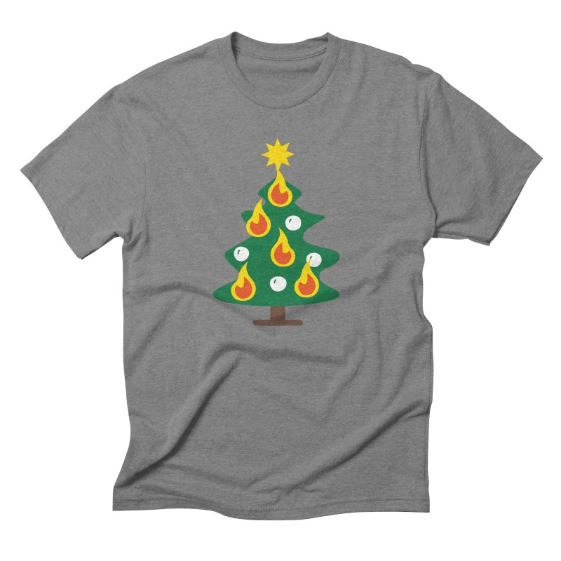 Burning Christmas Tree Men's Triblend T-Shirt by Dicker Dandy