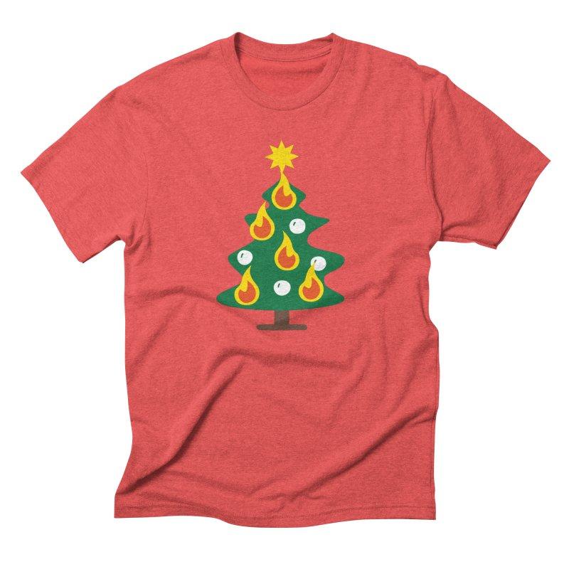 Burning Christmas Tree Men's Triblend T-Shirt by Dicker Dandy