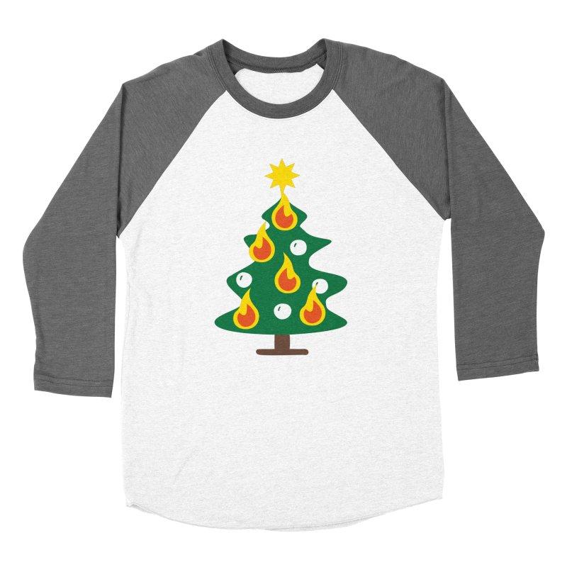 Burning Christmas Tree Women's Baseball Triblend T-Shirt by Dicker Dandy