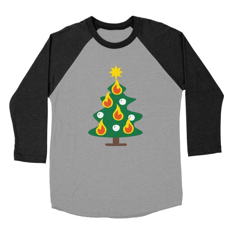 Burning Christmas Tree Women's Baseball Triblend Longsleeve T-Shirt by Dicker Dandy