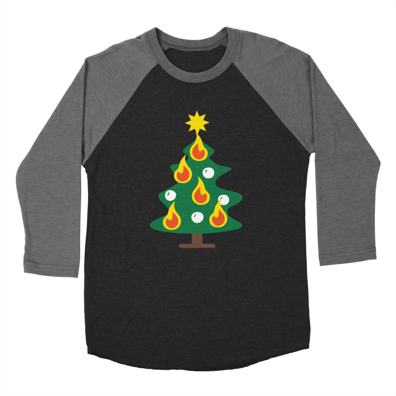 Burning Christmas Tree Men's Baseball Triblend Longsleeve T-Shirt by Dicker Dandy