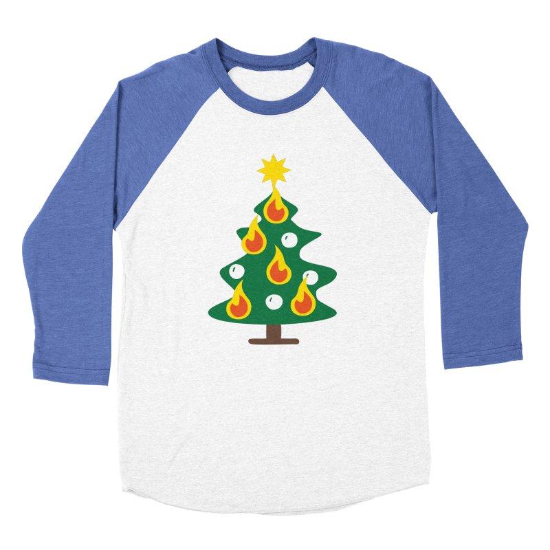 Burning Christmas Tree Men's Baseball Triblend Longsleeve T-Shirt by Dicker Dandy