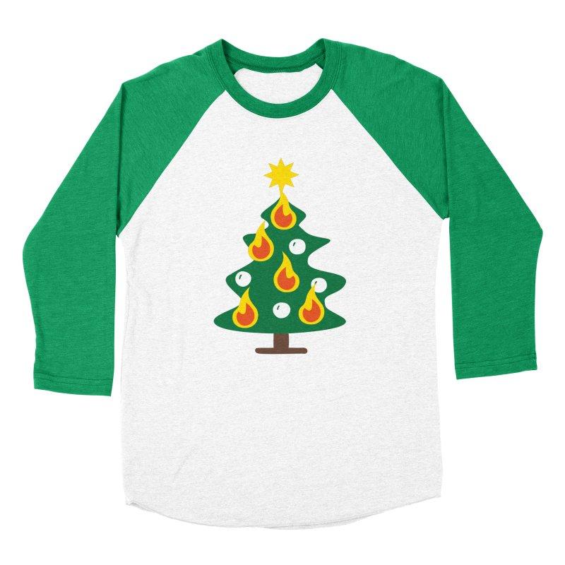 Burning Christmas Tree Men's Baseball Triblend T-Shirt by Dicker Dandy