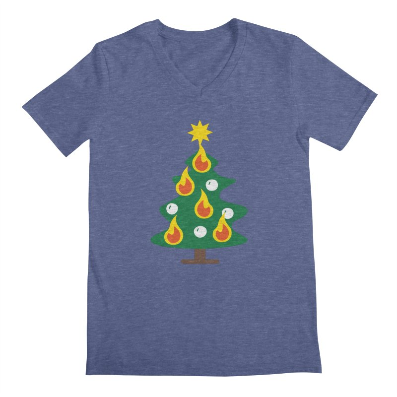 Burning Christmas Tree Men's V-Neck by Dicker Dandy