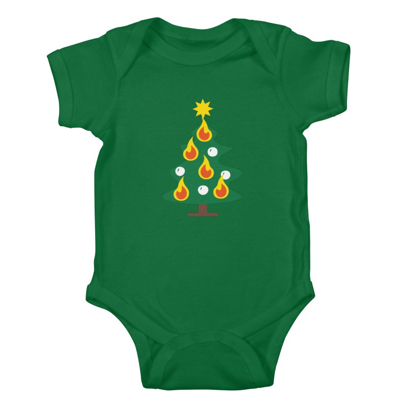 Burning Christmas Tree Kids Baby Bodysuit by Dicker Dandy