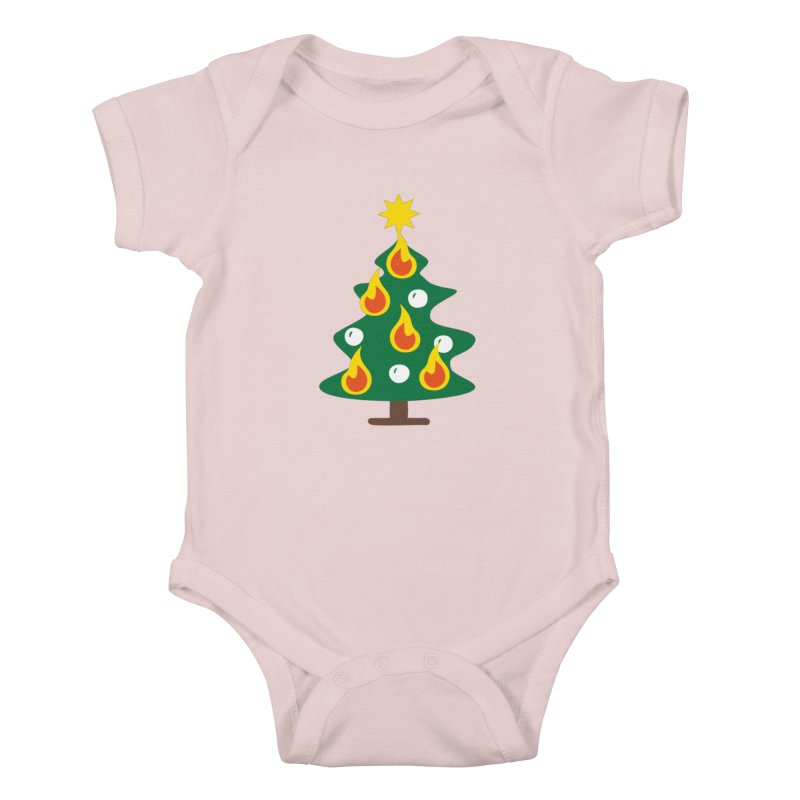Burning Christmas Tree Kids Baby Bodysuit by Dicker Dandy