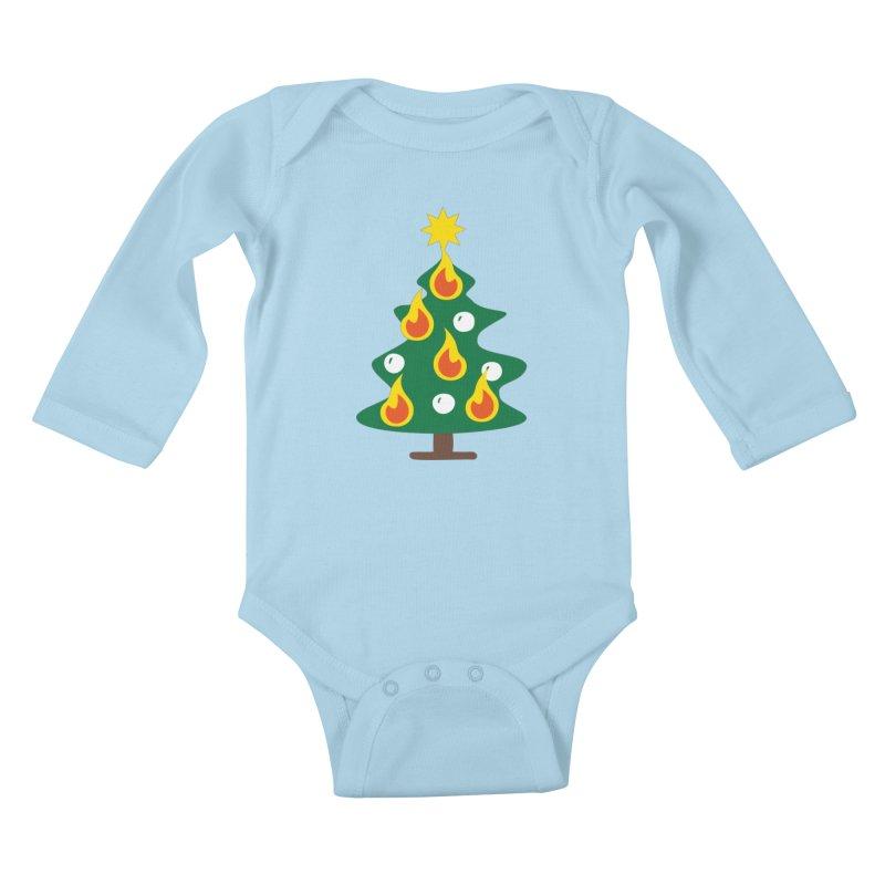Burning Christmas Tree Kids Baby Longsleeve Bodysuit by Dicker Dandy