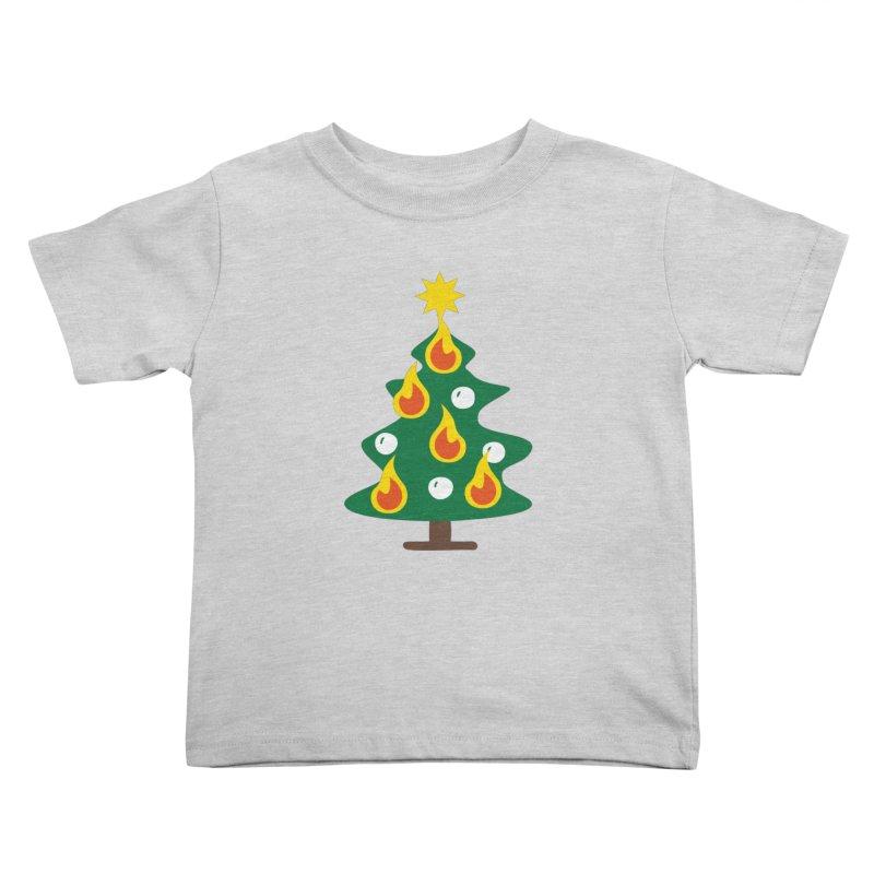 Burning Christmas Tree Kids Toddler T-Shirt by Dicker Dandy