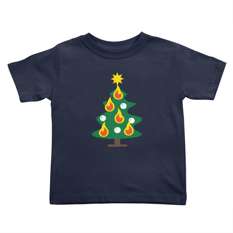 Burning Christmas Tree Kids Toddler T-Shirt by Dicker Dandy