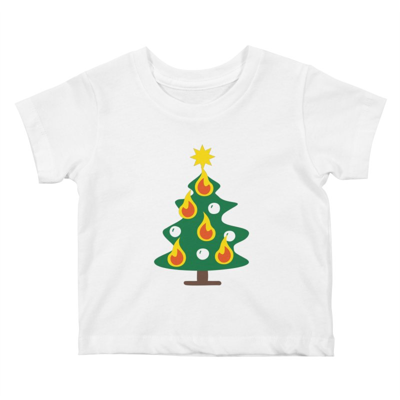 Burning Christmas Tree Kids Baby T-Shirt by Dicker Dandy