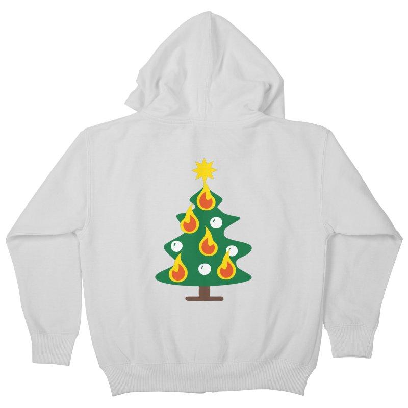 Burning Christmas Tree Kids Zip-Up Hoody by Dicker Dandy