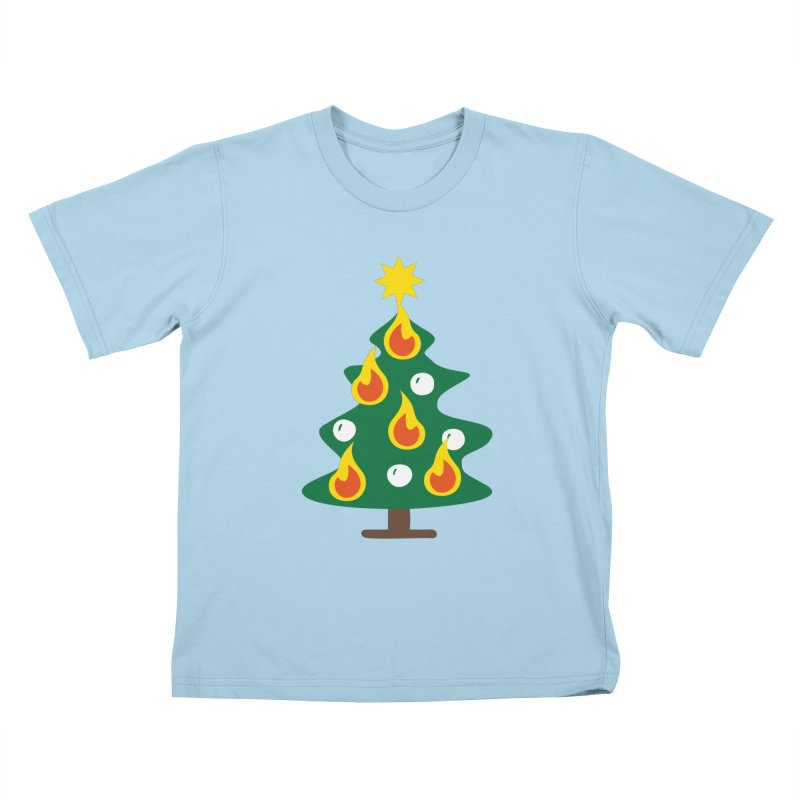 Burning Christmas Tree Kids T-Shirt by Dicker Dandy