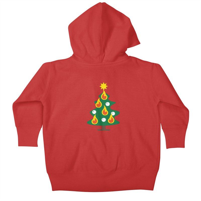 Burning Christmas Tree Kids Baby Zip-Up Hoody by Dicker Dandy
