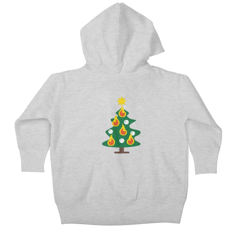 Burning Christmas Tree Kids Baby Zip-Up Hoody by Dicker Dandy