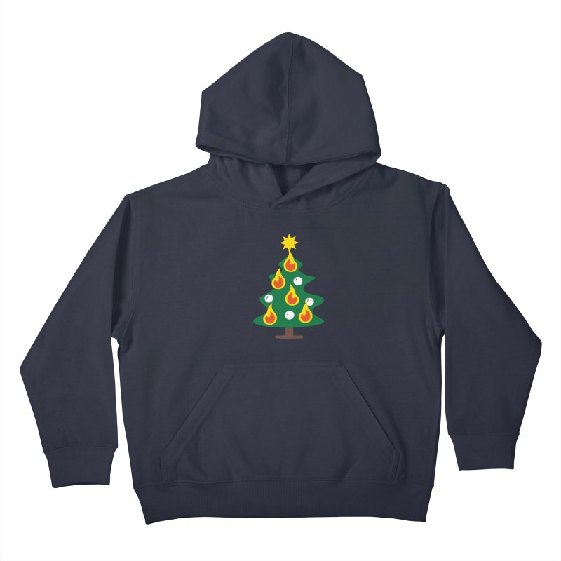 Burning Christmas Tree Kids Pullover Hoody by Dicker Dandy