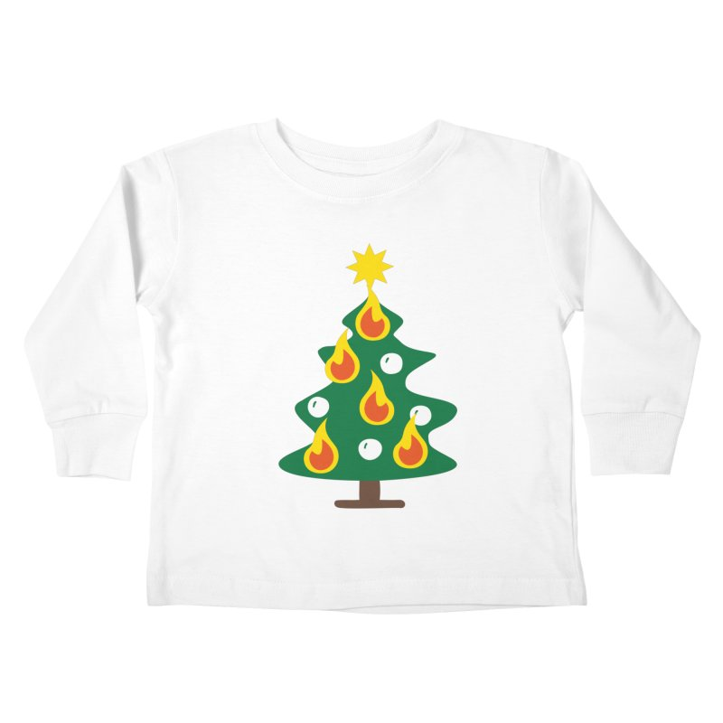 Burning Christmas Tree Kids Toddler Longsleeve T-Shirt by Dicker Dandy