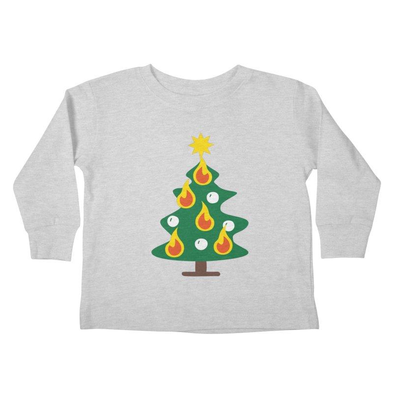 Burning Christmas Tree Kids Toddler Longsleeve T-Shirt by Dicker Dandy