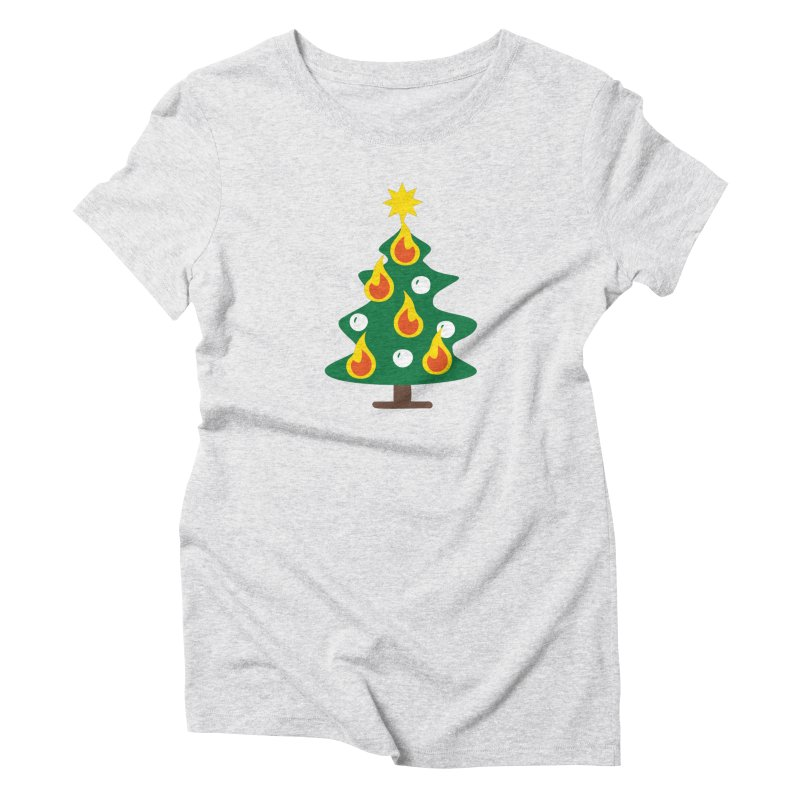Burning Christmas Tree Women's T-Shirt by Dicker Dandy