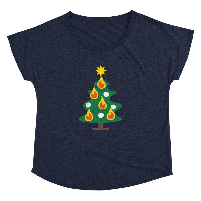 Burning Christmas Tree Women's Dolman by Dicker Dandy