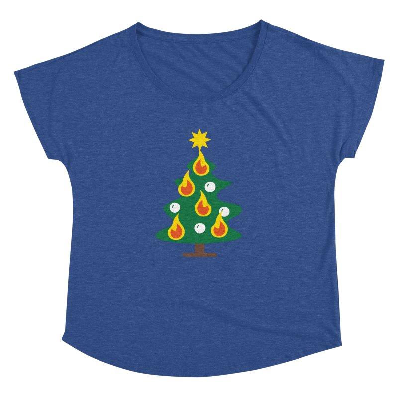 Burning Christmas Tree Women's Dolman Scoop Neck by Dicker Dandy