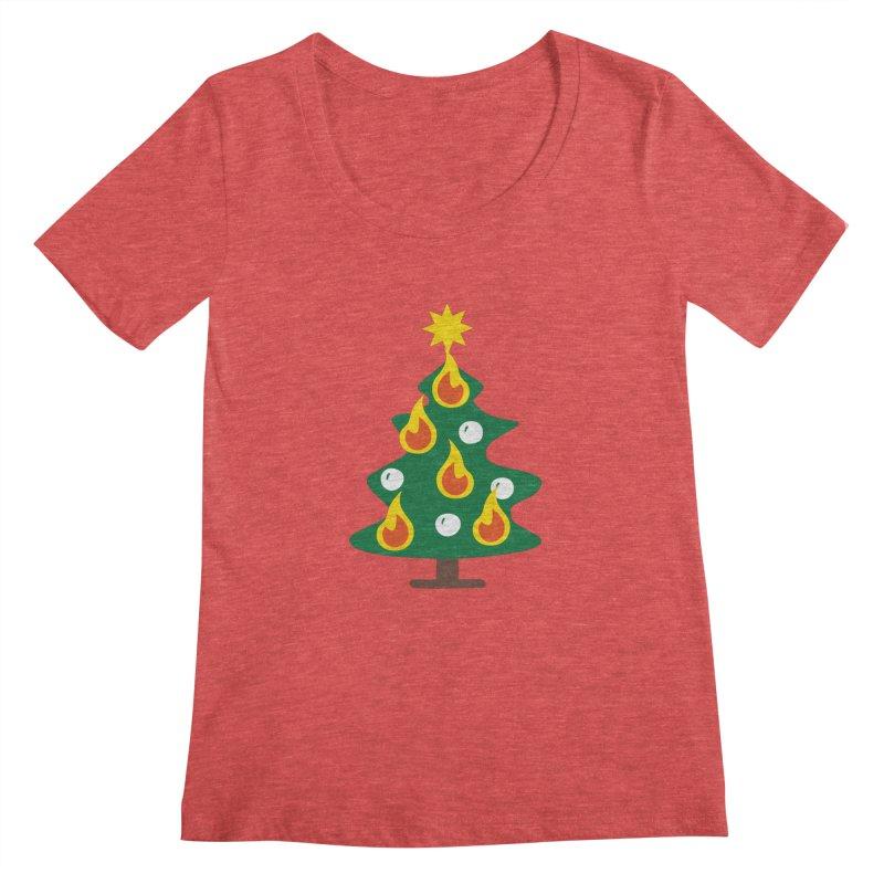 Burning Christmas Tree Women's Regular Scoop Neck by Dicker Dandy