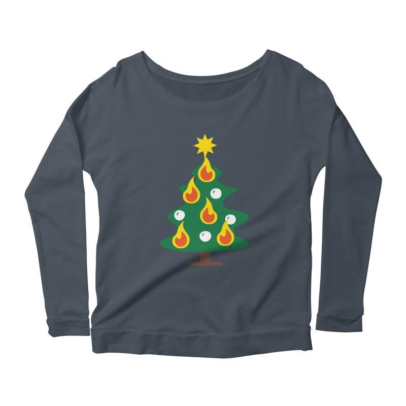 Burning Christmas Tree Women's Scoop Neck Longsleeve T-Shirt by Dicker Dandy