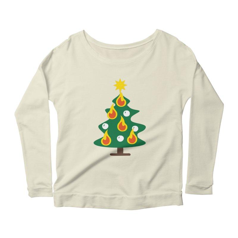 Burning Christmas Tree Women's Longsleeve Scoopneck  by Dicker Dandy